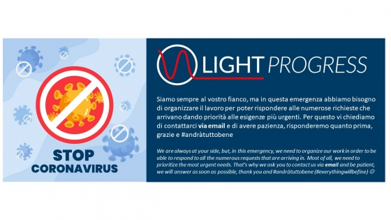 PLEASE ADVISE: contact us via email only, at info@lightprogress.it